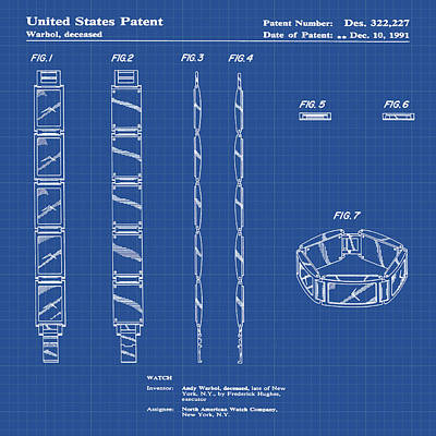 Andy Warhol Drawing - Five Face Watch Patent By Andy Warhol In Blue Print by Bill Cannon