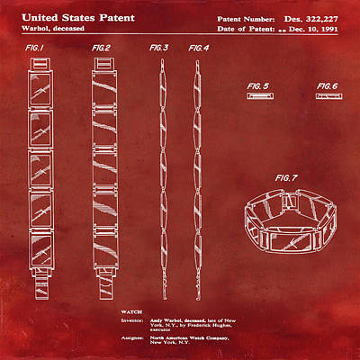 Andy Warhol Drawing - Five Face Watch Patent By Andy Warhol In Red by Bill Cannon