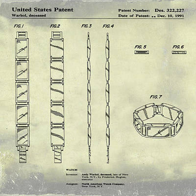 Andy Warhol Drawing - Five Face Watch Patent By Andy Warhol In Weathered by Bill Cannon
