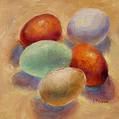 Painting - Five Farm Fresh Eggs by Jill Musser