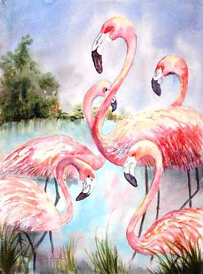 Painting - Five Flamingos by Diane Kirk
