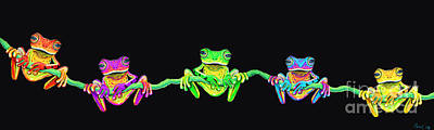 Designs In Nature Digital Art - Five Frogs On A Vine by Nick Gustafson