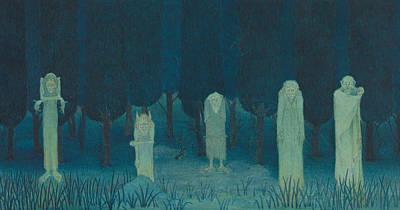 Drawing - Five Ghouls by Herbert Crowley