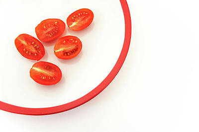 Photograph - Five Half Tomatoes On White Plate by Jenny Rainbow
