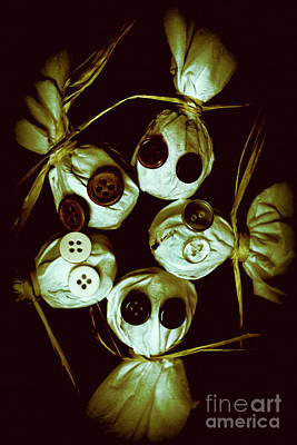 Primitive Photograph - Five Halloween Dolls With Button Eyes by Jorgo Photography - Wall Art Gallery