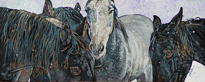 Painting - Five Horses In The Snow by Nadi Spencer