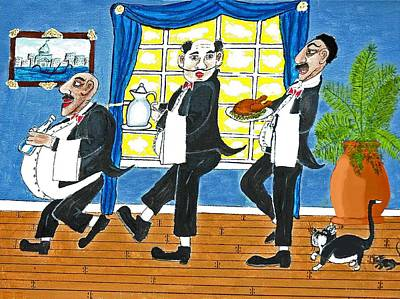 Five Italian Waiters Art Print by Gordon Wendling