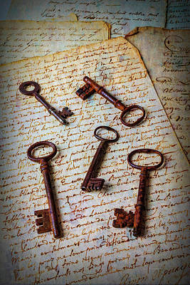 Five Keys On Old Letters Art Print