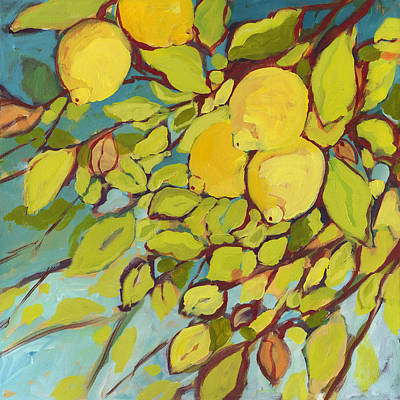 Lemon Painting - Five Lemons by Jennifer Lommers