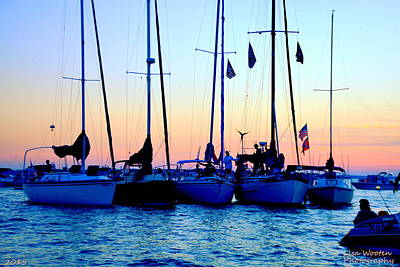 Photograph - Five Little Sailboats Sitting In A Row by Lisa Wooten