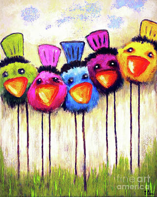 Painting - Five Little Tweets by Tina LeCour