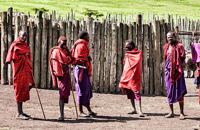 Photograph - Five Maasai Warriors by Amyn Nasser