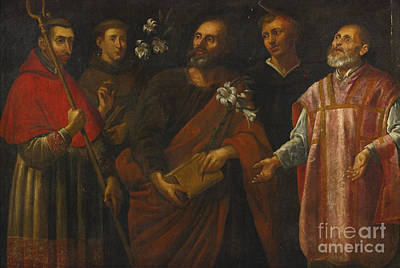 Borromeo Painting - Five Male Saints by MotionAge Designs