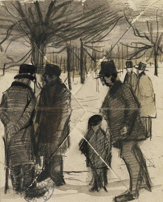 Cold Temperature Painting - Five Men And A Child In The Snow, 1883 by Vincent Van Gogh