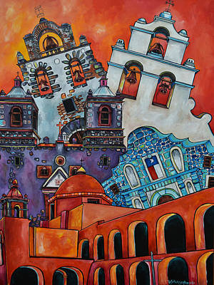 San Antonio Wall Art - Painting - Five Missions by Patti Schermerhorn