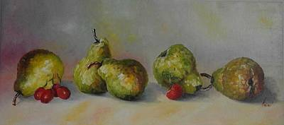 Painting - ''five Pears'' by Asia Dzhibirova