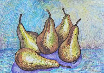 Still Life Drawings - Five Pears by Caroline Street