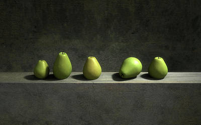 Green Digital Art - Five Pears by Cynthia Decker