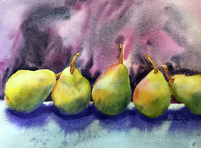 Painting - Five Pears by Hilda Vandergriff