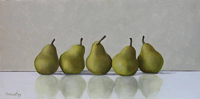 Painting - Five Pears by Linda Tenukas