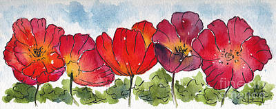 Painting - Five Poppies Remembrance by Pat Katz