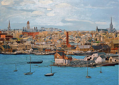 Painting - Five Pound Island And City by Laurence Dahlmer