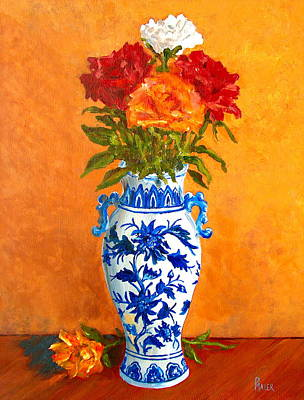 Stillife Painting - Five Roses II by Pete Maier