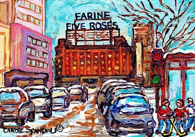 Montreal Buildings Painting - Five Roses Sign Montreal Landmark Marquee Street Hockey Painting Canadian Artist Carole Spandau      by Carole Spandau