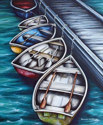 Dory Painting - Five Rowboats by Kristina Steinbring