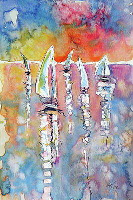 Painting - Five Sailboats by Kovacs Anna Brigitta