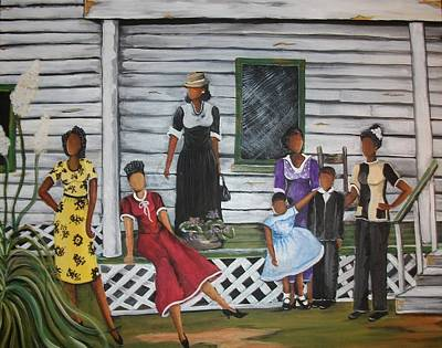 Gullah Geechee Painting - Five Sisters by Sonja Griffin Evans