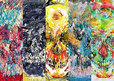 Painting - Five Skulls by Fabrizio Cassetta