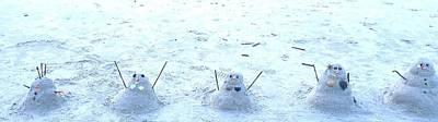 Photograph - Five Snowmen In The Sand by Cherylene Henderson