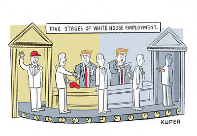 Drawing - Five Stages Of White House Employment by Peter Kuper