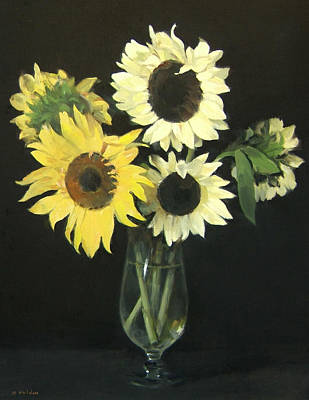 Painting - Five Sunflowers In Footed Glass Vase by Robert Holden