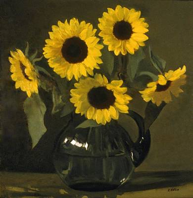 Painting - Five Sunflowers In A Green Glass Pitcher by Robert Holden