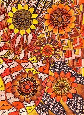 Oshun Wall Art - Mixed Media - Five Sunflowers-oshun by Leticia Mesa