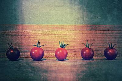 Food Photograph - Five Tomatoes by Michelle Calkins