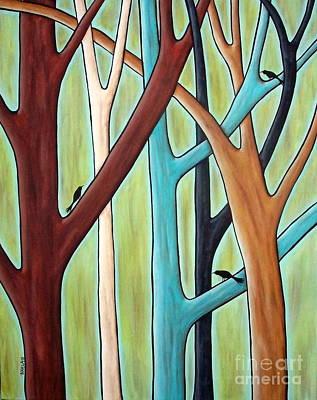 Five Trees And Three Birds Art Print by Karla Gerard