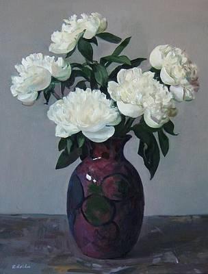 Five White Peonies In Purple Vase Art Print