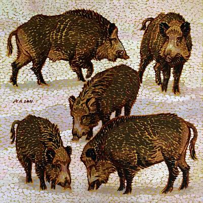 Painting - Five Wild Boars by Attila Meszlenyi