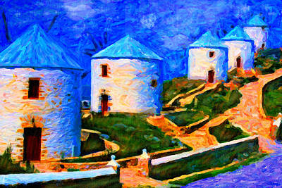Digital Art - Five Windmills by Chuck Mountain