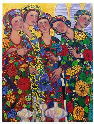 Five Women And The Iris Art Print by Marilene Sawaf