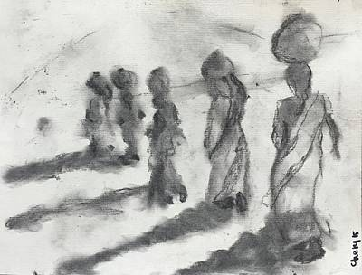 Drawing - Five Women Immigrants by Cherylene Henderson