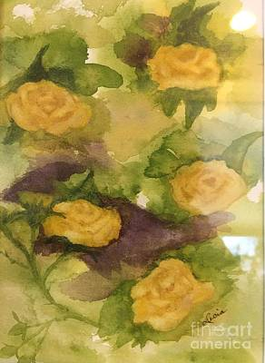Painting - Five Yellow Roses by Lucia Grilletto