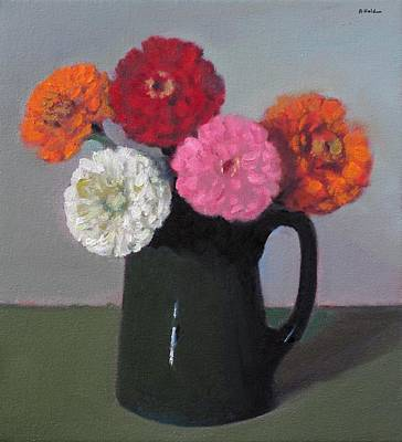Painting - Five Zinnias In A Vintage Hall Pitcher by Robert Holden