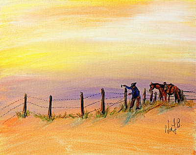 Cowboy Drawing - Fix On The Prairie by Erich Grant