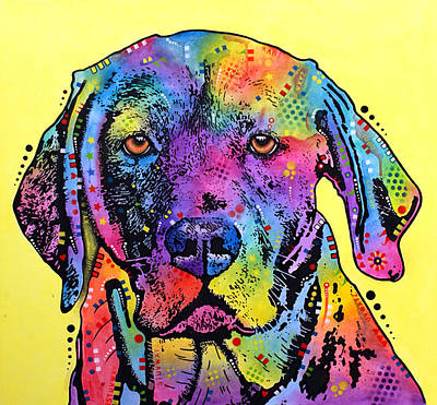 Lab Mixed Media - Fixate Labrador by Dean Russo