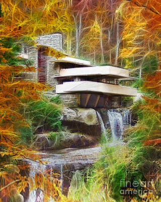 Digital Art - Fixer Upper - Frank Lloyd Wright's Fallingwater by John Robert Beck