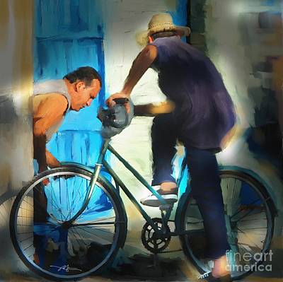 Fixing A Bike - Cuba Art Print by Bob Salo